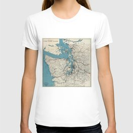 Vintage Map of The Puget Sound (1919) T-shirt