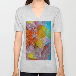 peonies and roses on tablecloth Unisex V-Neck