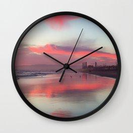 El Porto Beach at Low Tide Wall Clock