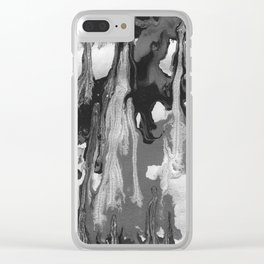 Black And White Marble Drips Clear iPhone Case