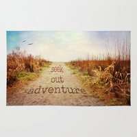 adventure is out there Area & Throw Rugs featuring Seek out adventure by Sylvia Cook Photography