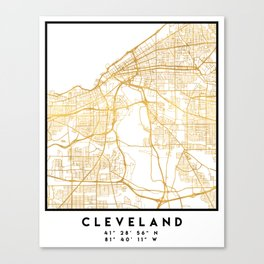CLEVELAND OHIO CITY STREET MAP ART Canvas Print