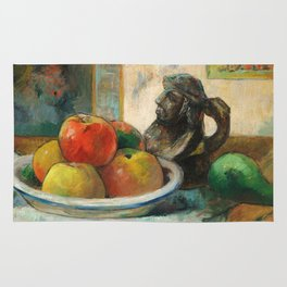 Still Life with Apples, a Pear, and a Ceramic Portrait Jug Rug