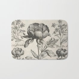 Antique floral black and white chinoiserie flower vintage Paris flowers French botanical goth print Bath Mat