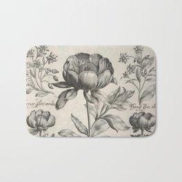 Antique floral black and white chinoiserie flower vintage Paris flowers French botanical goth print Bath Mat