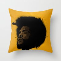 tupac Throw Pillows featuring Questlove 2.0 by The Art Warriors