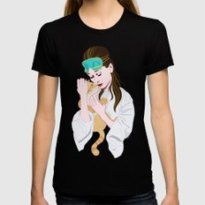 Holly Golightly's cat / Audrey Hepburn Black LARGE Womens Fitted Tee