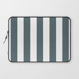 Stormcloud grey - solid color - white vertical lines pattern Laptop Sleeve