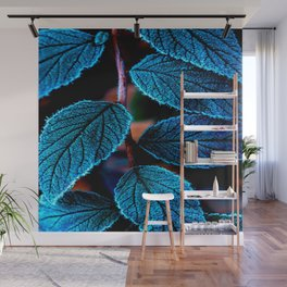 Peacock Blue Leaves Nature Background #decor #society6 #buyart Wall Mural