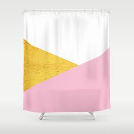 Gold & Pink Geometry Shower Curtain