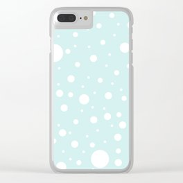 Mixed Polka Dots - White on Light Cyan Clear iPhone Case