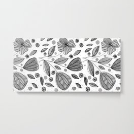 Black and white watercolor flowers Metal Print