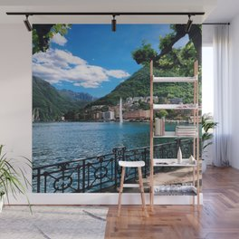 Lake Lugano lakeside path with alpine and fountain view Switzerland photograph Wall Mural