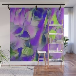 Heavenly Rose Petals Abstract - Purple Wall Mural