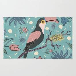 Toucan Bird of Magical Blue Forest Rug