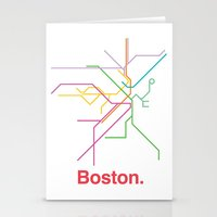 boston map Stationery Cards featuring Boston Transit Map by Ariel Wilson