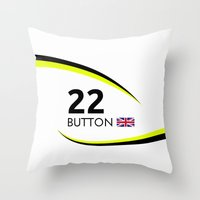 f1 Throw Pillows featuring F1 Legends - Jenson Button [Brawn] by MS80 Design