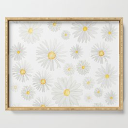 white daisy pattern watercolor Serving Tray