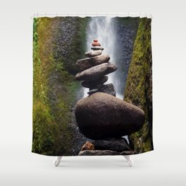 Stone Carin, Oneonta Falls, Oneonta Gorge, Oregon Shower Curtain