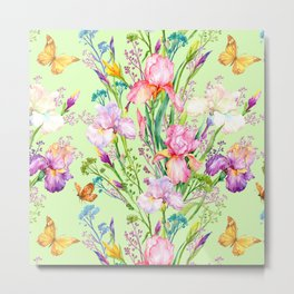 Pastel Pink & Lilac Iris Floral Pattern With Butterflies Metal Print