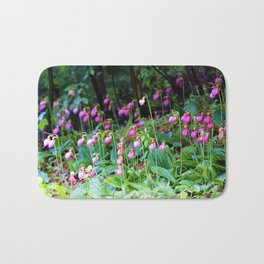 Wild Orchid Lady Slipper Forest Flowers Found in Rhode Island Bath Mat