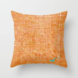 Springfield, MO, USA, Gold, Blue, City, Map Throw Pillow
