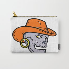 Cowboy Pirate Skull Mono Line Art Carry-All Pouch