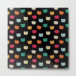 Cat heads on black Metal Print