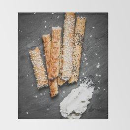 Breadsticks art #food #stilllife Throw Blanket