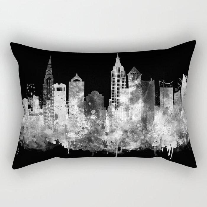 New York City Inverted Watercolor Skyline Rectangular Pillow