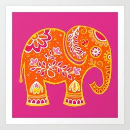 the magic elephant ... orange Art Print
