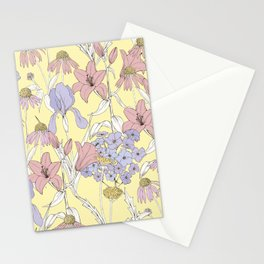 Beautiful flowers on a yellow background Stationery Cards
