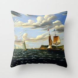 Thomas Chambers Staten Island and the Narrows Throw Pillow