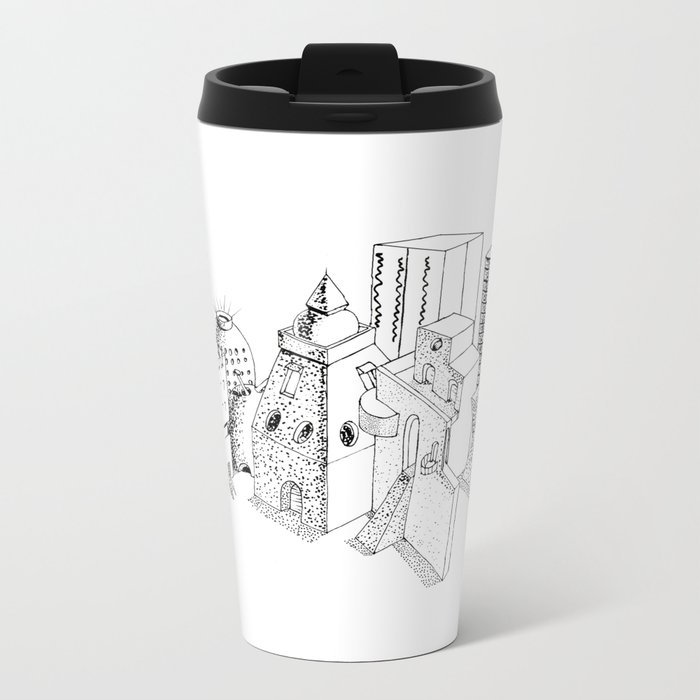cubes and balls in the city Metal Travel Mug