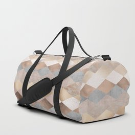 Copper and Blush Rose Gold Marble Argyle Duffle Bag