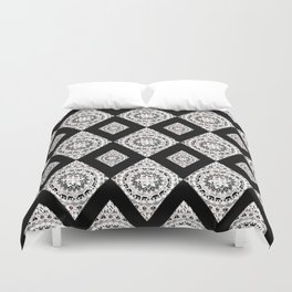 Metallic White Silver & Black Mandala Diamonds Textile Duvet Cover