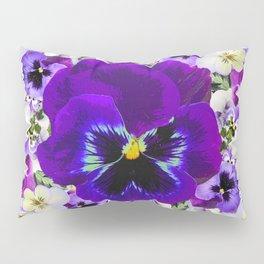 PURPLE & WHITE PANSY GARDEN ART Pillow Sham