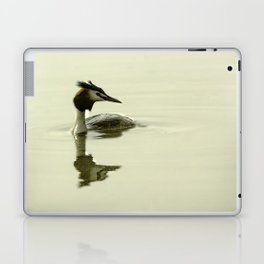 Photograph of a Grebe reflecting in the water Laptop & iPad Skin