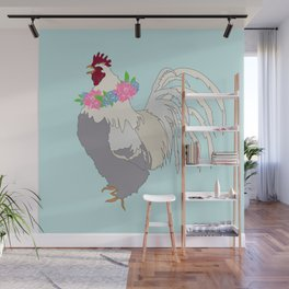 Floral Rooster Illustrated Print Spring Flowers Farm Chicken Wall Mural