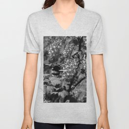 Bumble Bee and Blood Currant Ribes Sanguineum bw Unisex V-Neck