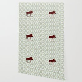 Winter Wreath Merry Christmas Red Buffalo Plaid Reindeer Wallpaper