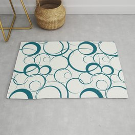 Tropical Dark Teal Funky Rings Pattern Inspired by Sherwin Williams 2020 Trending Color Oceanside SW6496 on Off White Rug
