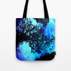 Black Trees Turquoise Space Tote Bag