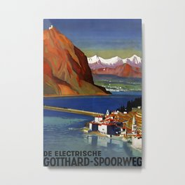 De elektrische Gotthard spoorweg Vintage Travel Poster Metal Print