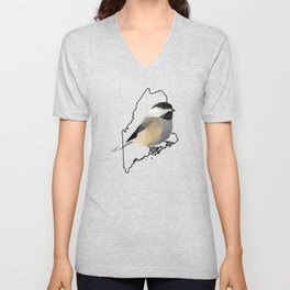 Maine – Black-Capped Chickadee Unisex V-Neck