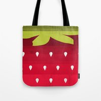 strawberry Tote Bags featuring Strawberry by Kakel
