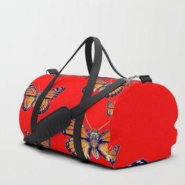RED ART MONARCH BUTTERFLIES Duffle Bag