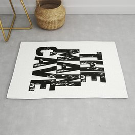 The Man Cave (black text on white) Rug
