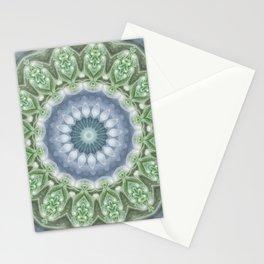 Slate Blue and Green Mandala Stationery Cards