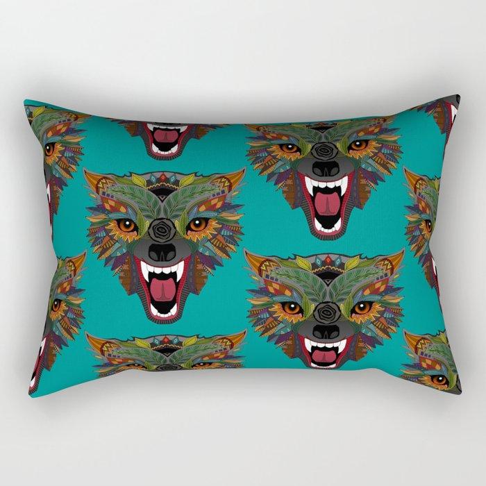 wolf fight flight teal Rectangular Pillow